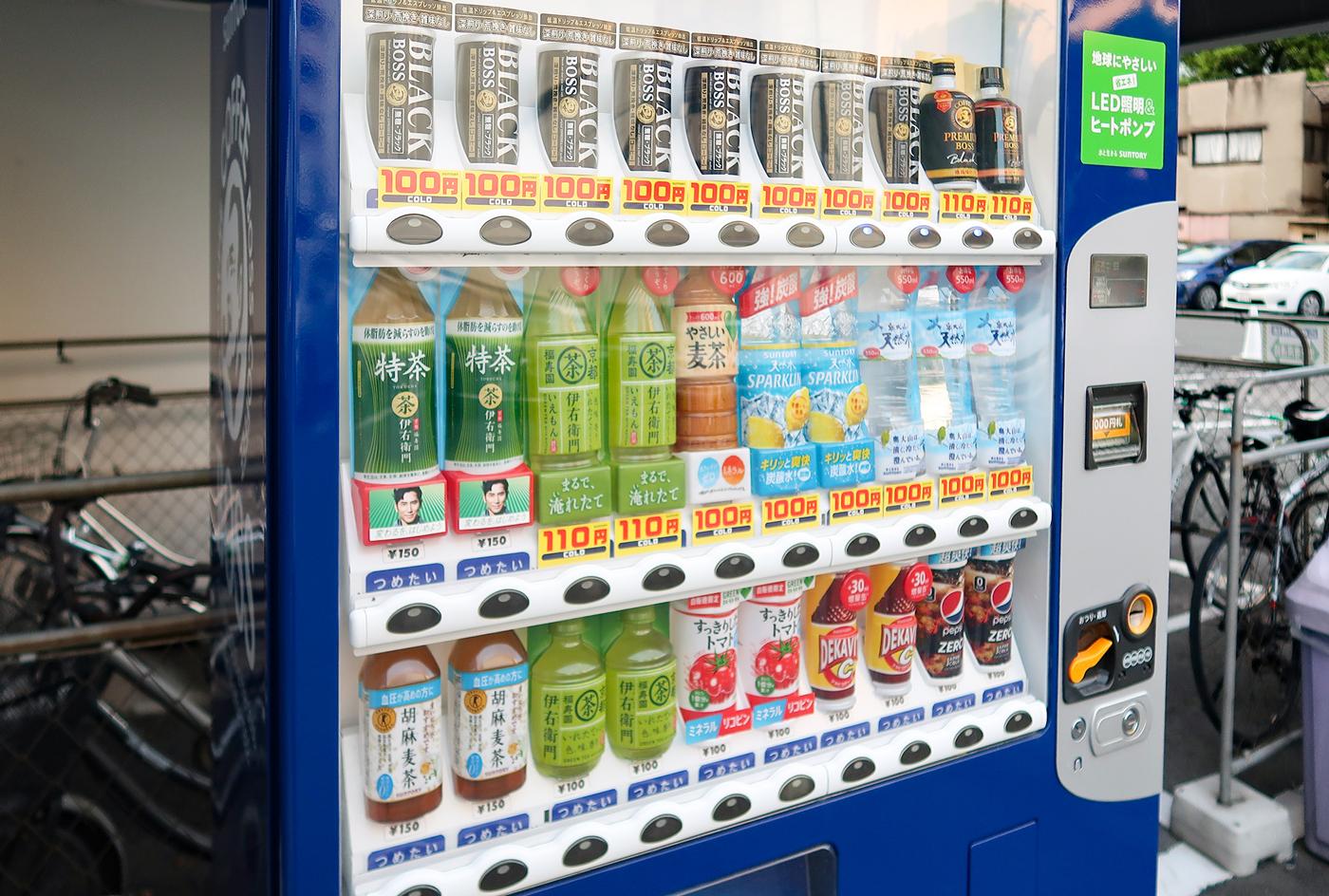 自動販売機の銘柄を「お茶・水・トクホ・無糖」中心に変更。